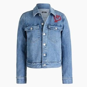 NWT J. Crew Denim Jacket with Heart Embroidery